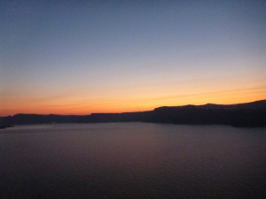 Sunrise from our room, Blu Rooms, Santorini, Greece - The Wiringi's Family Travel Blog